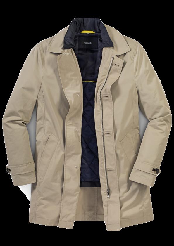 Ein Mantel in Beige mit dunkler Innenjacke.