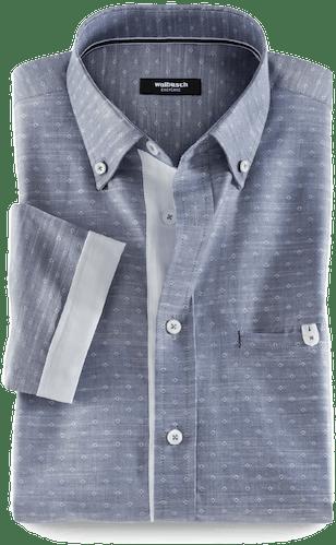 Blaues Hemd mit feinem Muster in weiß und grauen Details.