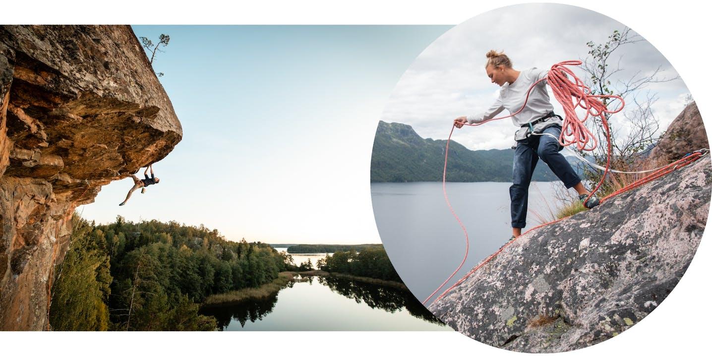 Collage con persona che arrampica e un'altra che getta una corda
