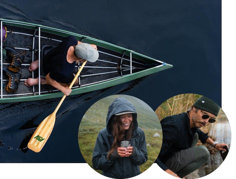 Uomo in barca che rema, in basso a destra un uomo e una donna
