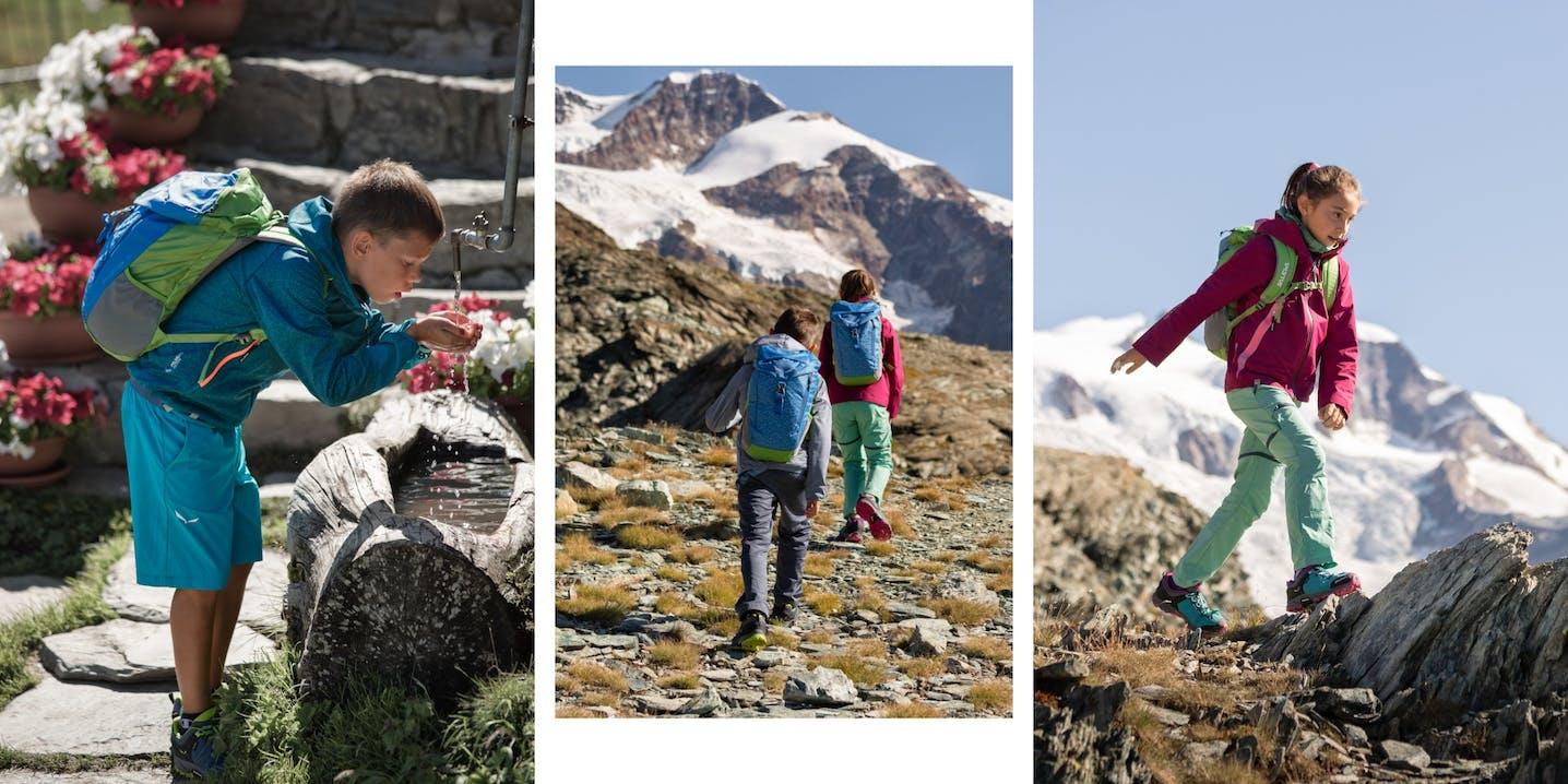 Collage di foto di ragazzi in paesaggio montano
