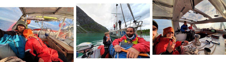 Collage di foto sulla barca