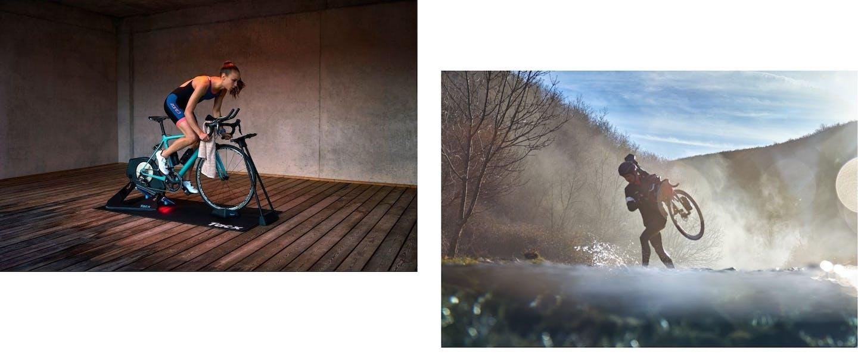Collage di foto di ciclisti