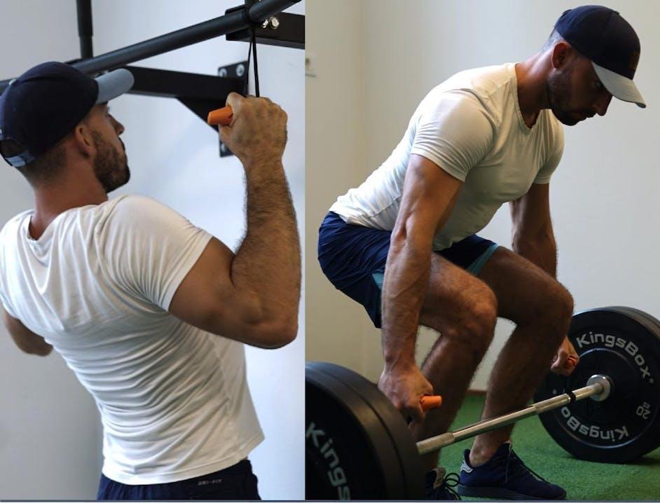 Collage di foto di atleta che esegue trazioni e solleva pesi
