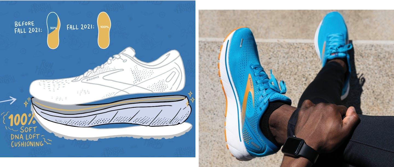 Collage con immagine scarpa stilizzata e foto scarpa