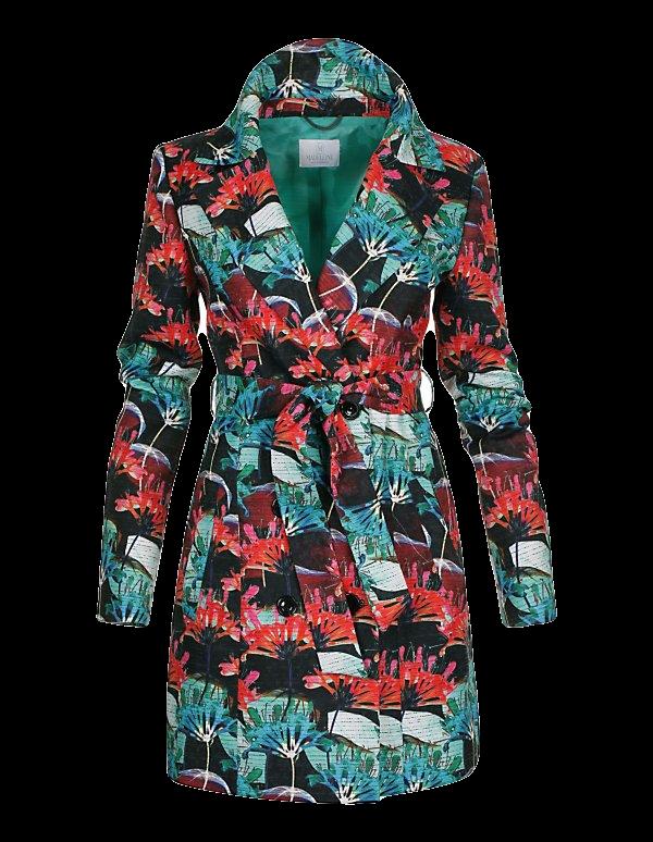 Kurzer Trench-Coat mit farbigem Print