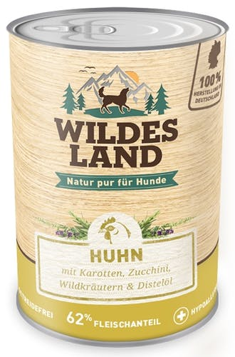 Wildes Land - Nassfutter - Huhn mit Karotten, Zucchini, Wildkräutern und Distelöl (getreidefrei)