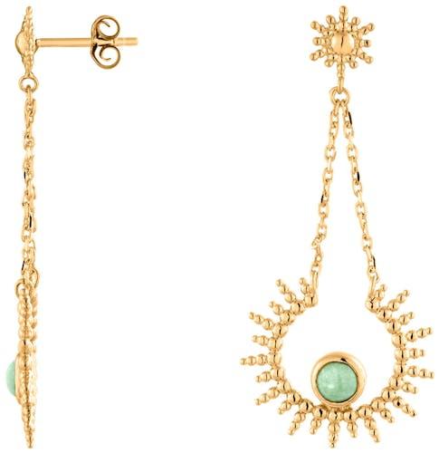 Ces Boucles d'oreilles pendantes YUCATAN sont en Plaqué or et Aventurine