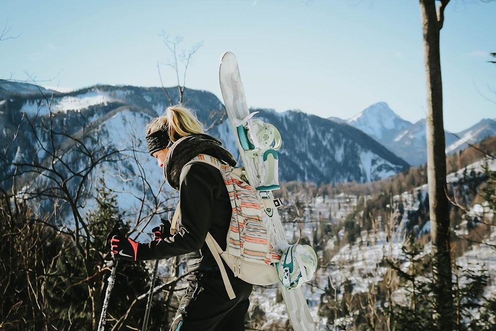 Snowboard Tourengehen ohne Splitboard