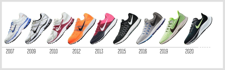Nike Air Zoom Pegasus im Laufe der Jahre