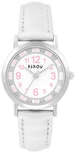 Cette montre KIKOU se compose d'un boîtier Rond de 27.8 mm et d'un bracelet en Cuir Gris