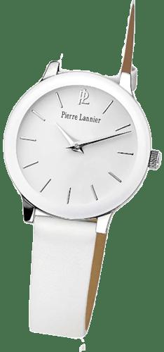 Montre PIERRE LANNIER Femme, Boîtier Rond Acier Blanc, Bracelet Cuir Blanc