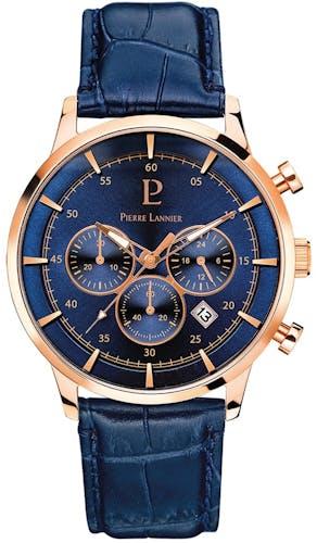 Cette Montre PIERRE LANNIER Homme se compose d'un Boîtier Rond 43 mm et d'un Bracelet en Cuir Bleu