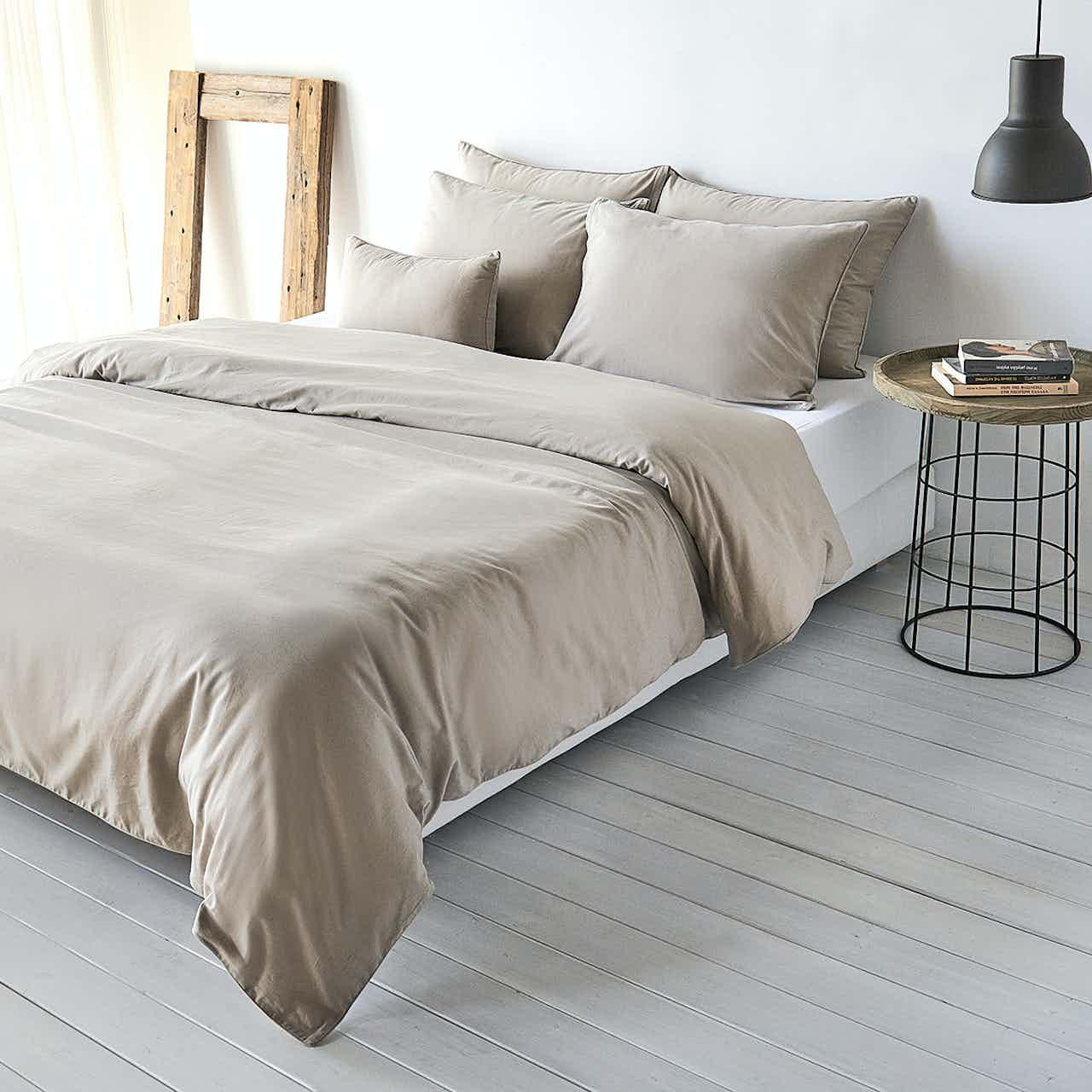 Traumschlaf Uni Baumwolle-Leinen Bettwäsche