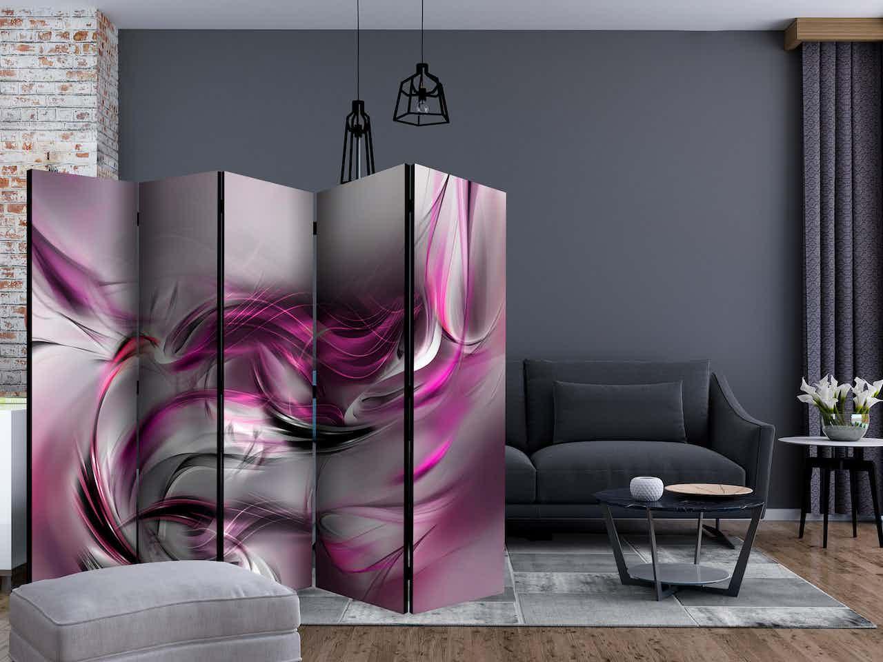 5-teiliges Paravent - Pink Swirls II II [Room Dividers]