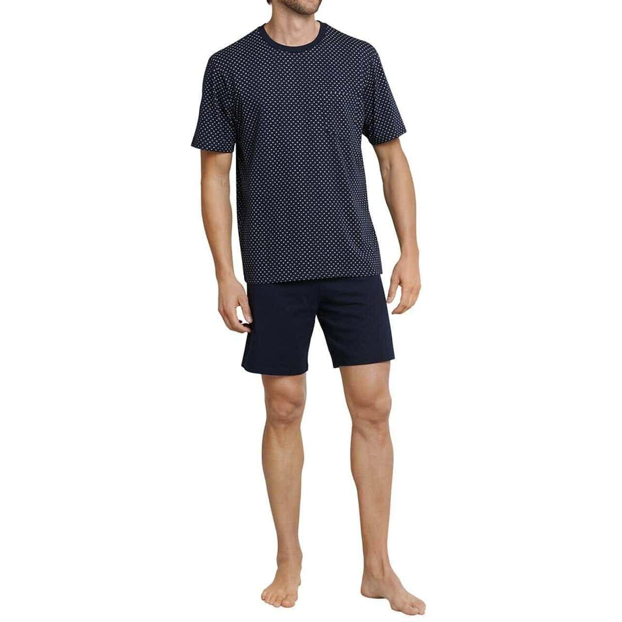 Schiesser Herren Pyjama kurz dunkelblau