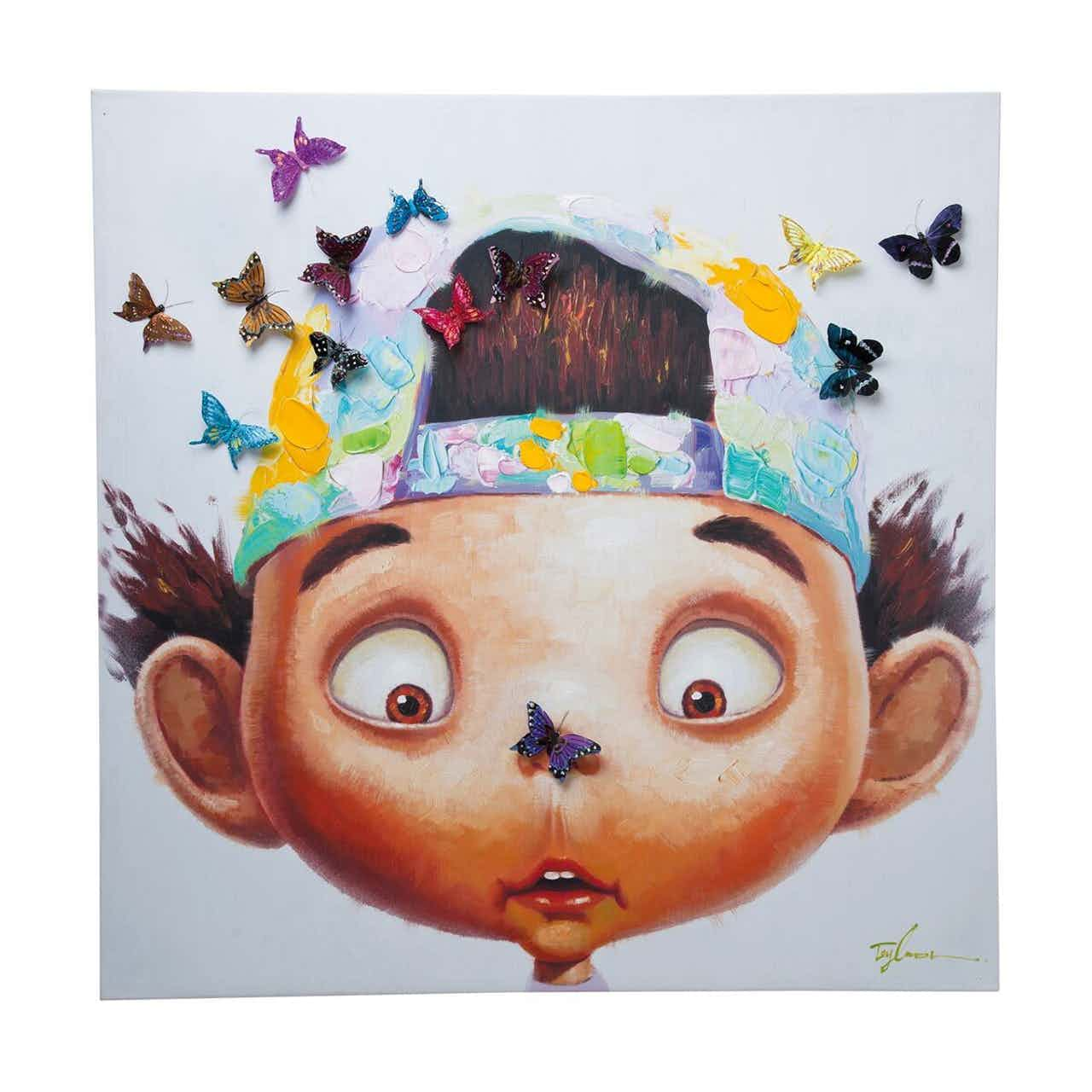 Kare Bild Touched Boy with Butterflies