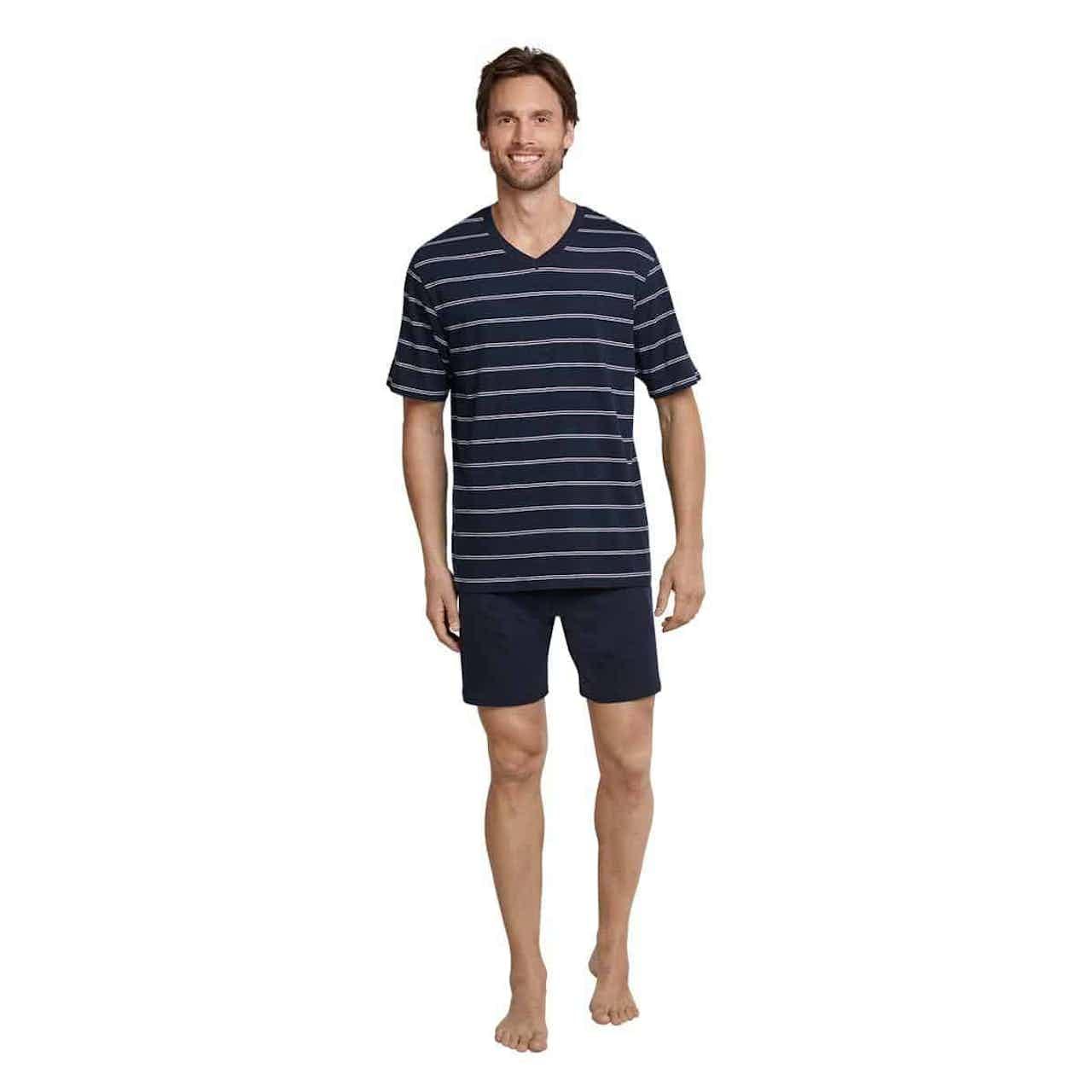 Schiesser Pyjama Herren kurz dunkelblau