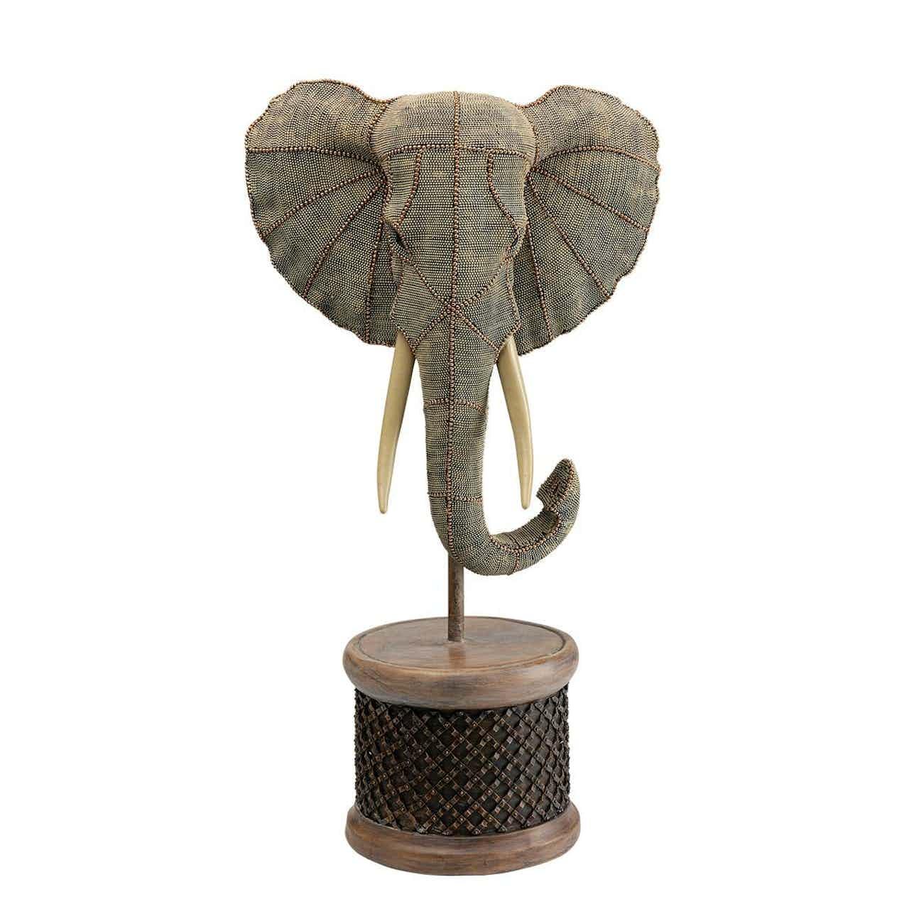 Kare Deko Objekt Elephant Head Pearls
