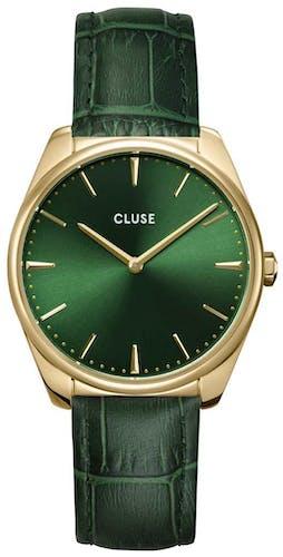 Cette montre CLUSE se compose d'un boîtier Rond de 38 mm et d'un bracelet en Cuir Vert