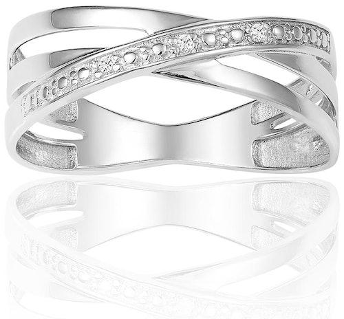Cette Bague CLEOR est en Or 375/1000 Blanc et Diamant Blanc