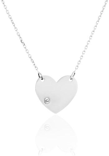 Ce Collier CLEOR est en Or 375/1000 Bicolore et Diamant Blanc en forme de Cœur