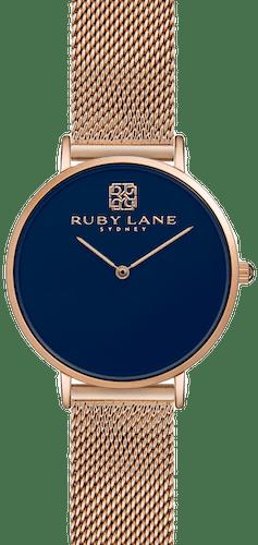 Montre RUBY LANE Femme avec Boitier Rond 36 mm et Bracelet Métal Rose