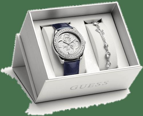 Coffret Montre GUESS COMBO BOX Femme avec Boitier Carré 40 mm, Bracelet Cuir Bleu et Bracelet Métal Cristal Blanc