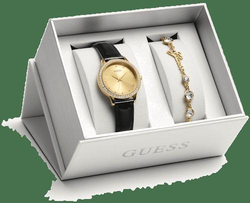 Coffret Montre GUESS Chelsea Femme avec Boitier Rond 30 mm, Bracelet Cuir Noir et Bracelet Métal Doré Cristal Blanc