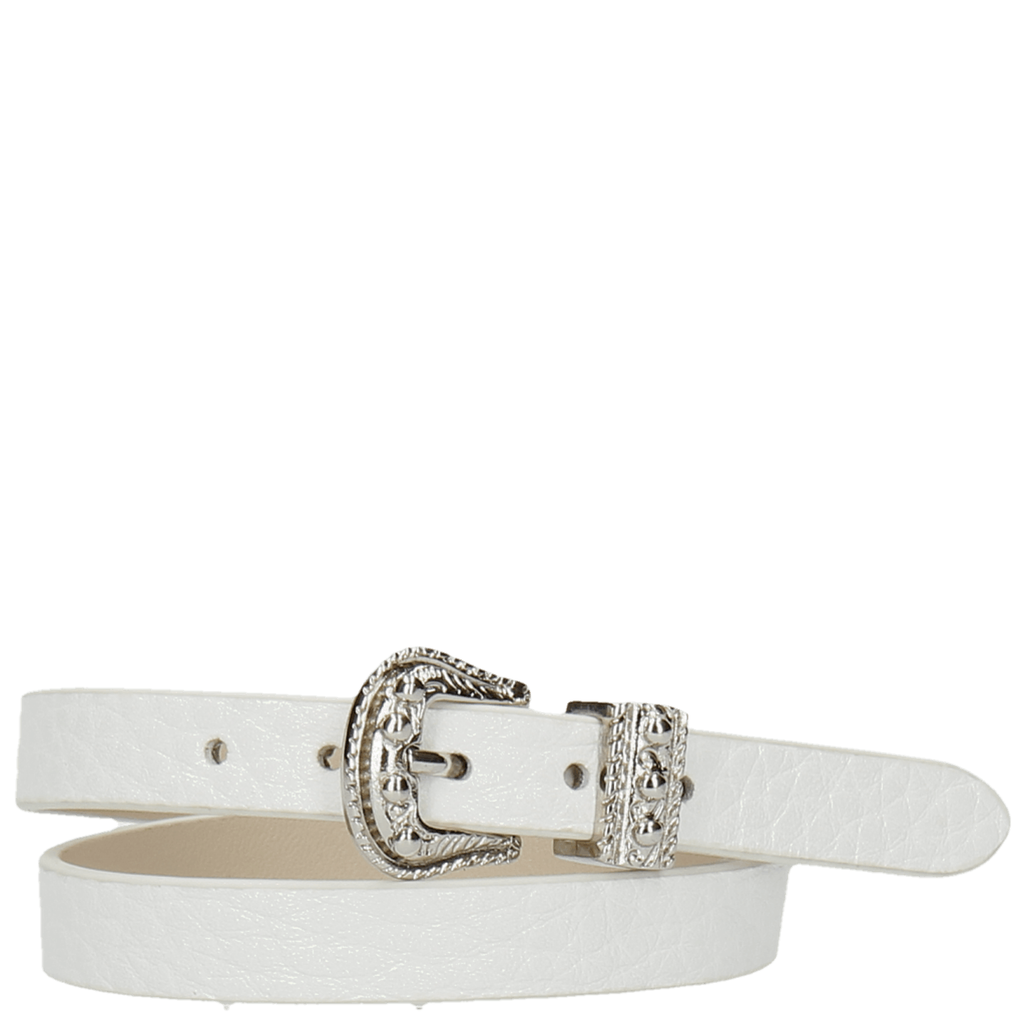 Ines 1 Milled White Buckle Nickle