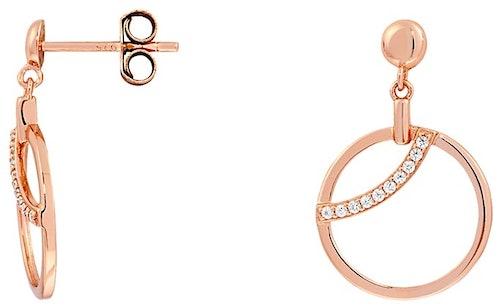 Ces Boucles d'oreilles ARBELO sont en Argent 925/1000 Rose et Oxyde Blanc