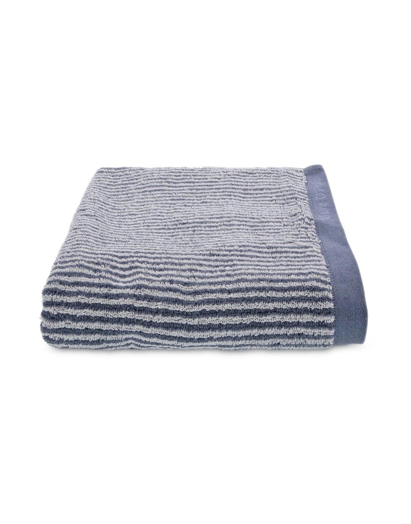 Marc O'Polo Timeless Tone Stripe Handtuch Streifen Smoke Blue / Off White