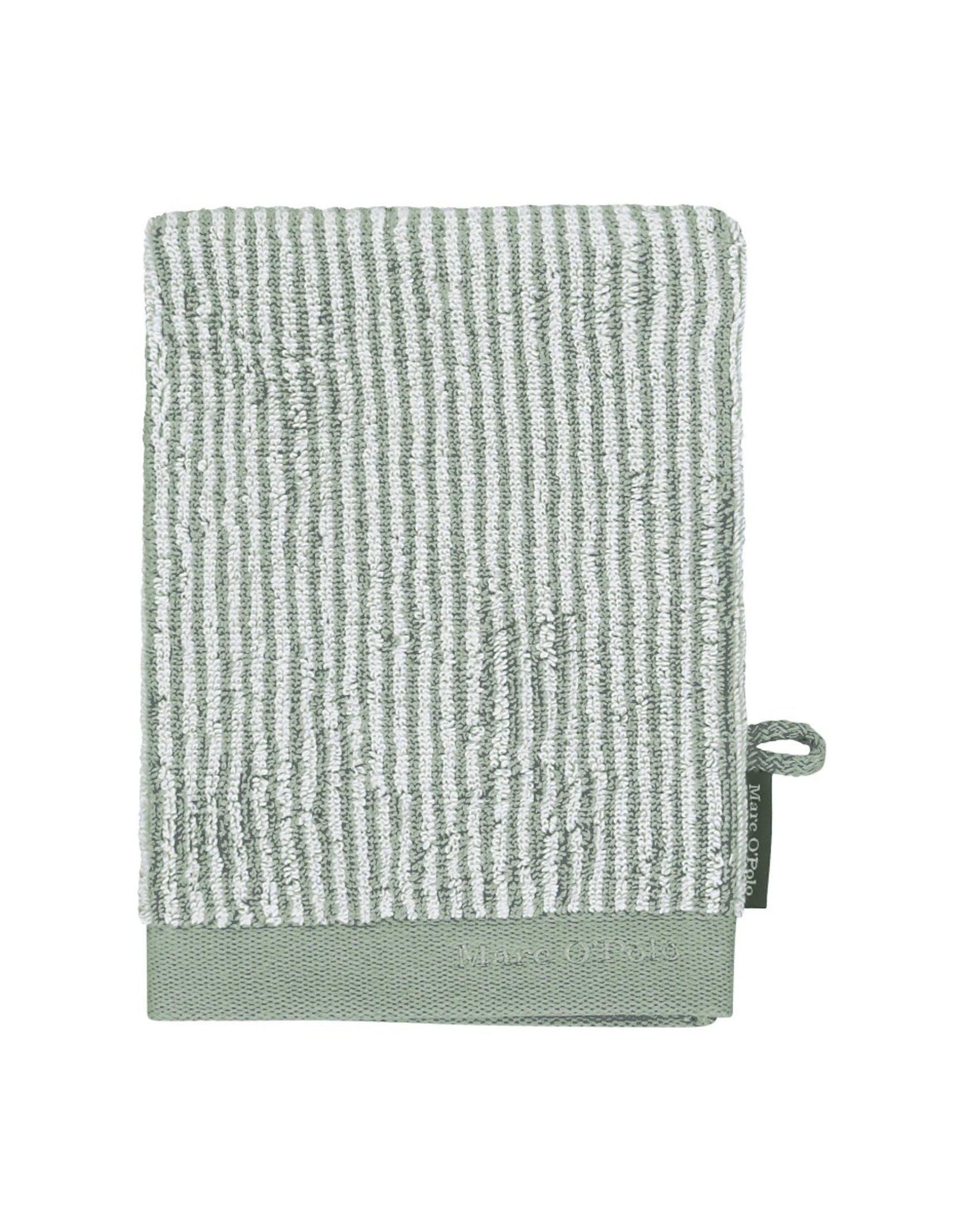 Marc O'Polo Timeless Tone Stripe Waschhandschuhe Streifen Grün / Off White