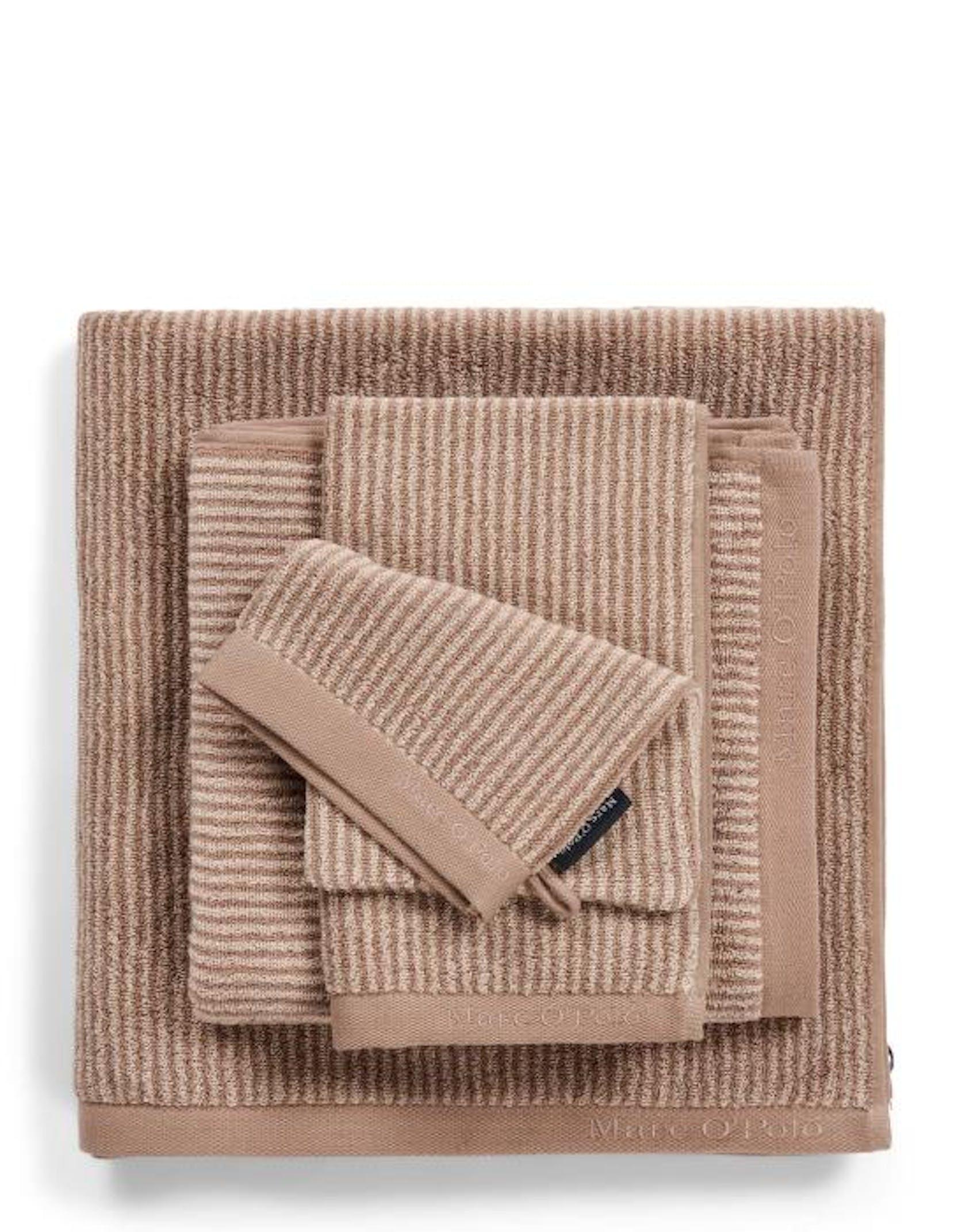 Marc O'Polo Timeless Tone Stripe Handtuch Streifen Beige / Clay