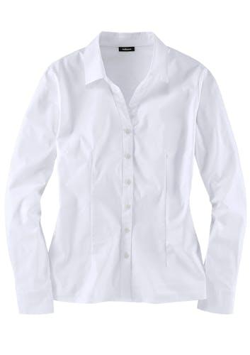 Weiße Bluse mit langen Ärmeln.