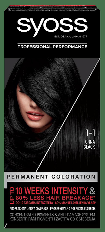 Trajna barva za lase Syoss Črna 1-1 shot pack