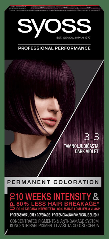 Trajna barva za lase Syoss Temno vijolična 3-3 shot pack