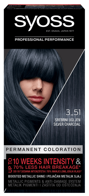 Trajna barva za lase Syoss Srebrno oglje 3-51 shot pack