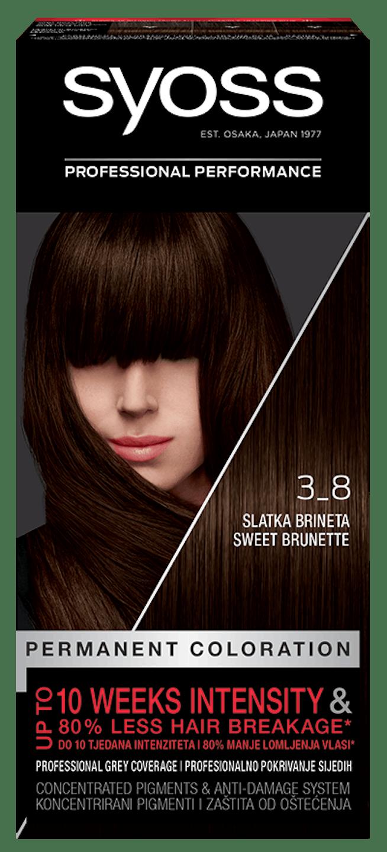 Trajna barva za lase Syoss Sladka brineta 3-8 shot pack