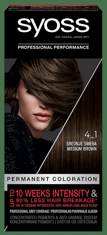 Trajna barva za lase Syoss Srednje rjava 4-1 shot pack