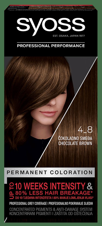 Trajna barva za lase Syoss Čokoladno rjava 4-8 shot pack