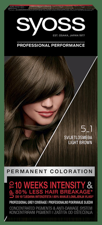 Trajna barva za lase Syoss Svetlo rjava 5-1 shot pack