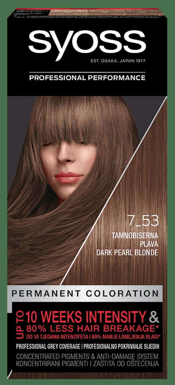 Trajna barva za lase Syoss Temnejša biserno blond 7-53 shot pack