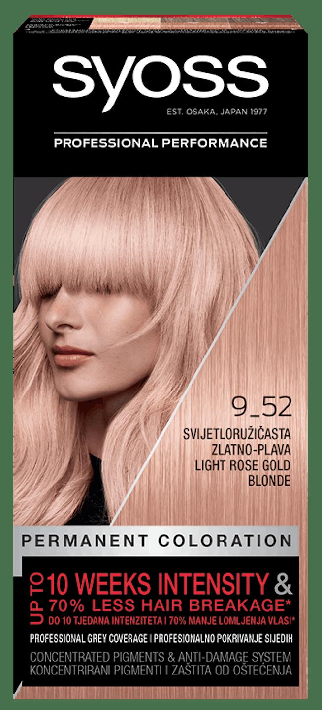 Trajna barva za lase Syoss Svetlo rožnata zlato blond 9-52 shot pack