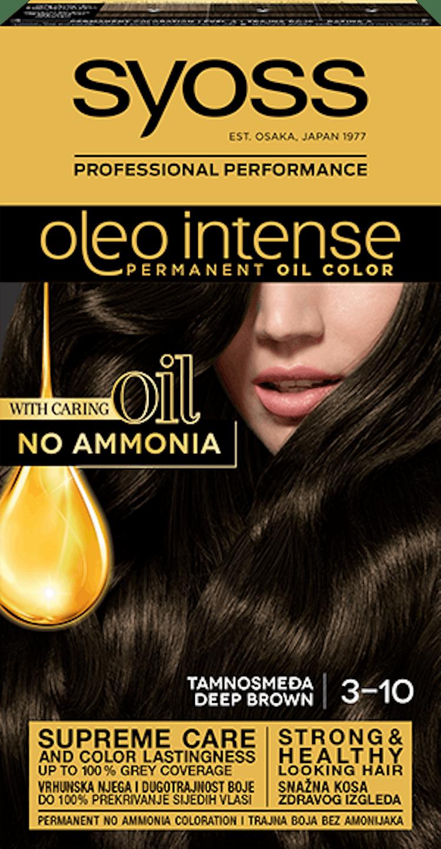 Trajna barva za lase Syoss Oleo Intense Temno rjava 3-10 shot pack