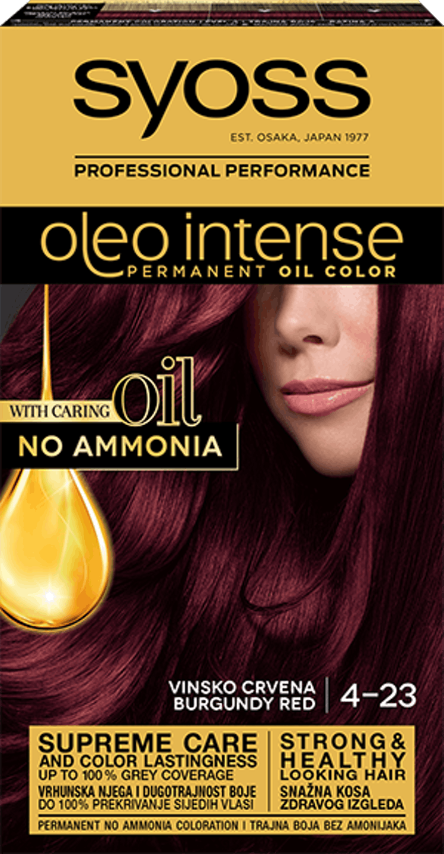 Trajna barva za lase Syoss Oleo Intense Vinsko rdeča 4-23 shot pack
