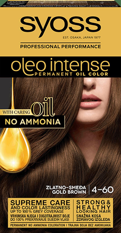 Trajna barva za lase Syoss Oleo Intense Zlato rjava 4-60 shot pack