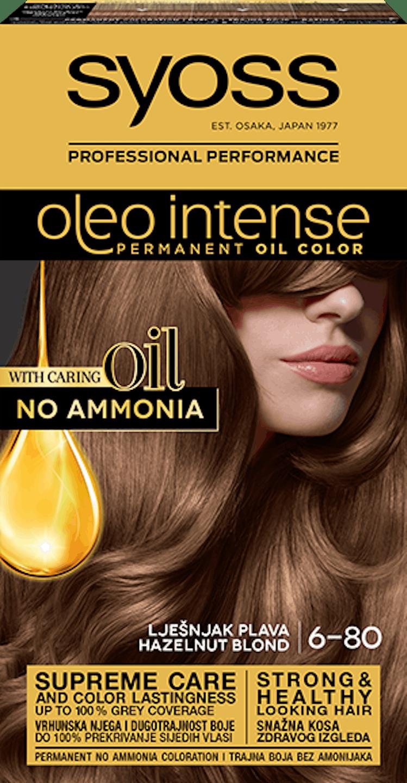 Trajna barva za lase Syoss Oleo Intense Lešnik blond 6-80 shot pack