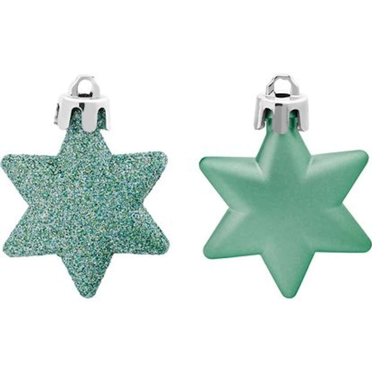 Karácsonyfadísz-készlet csillagok 12 darabos mentazöld
