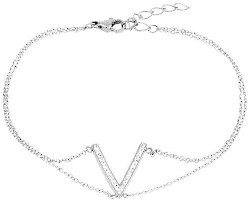 Ce Bracelet ALISON est en Acier et Cristal Blanc